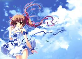 аниме, mikeou , artbook, арт, девочка, небо, платье