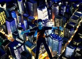psyren, аниме, город,  улицы,  здания, yoshina, ageha, парень, арт, kurame, snyj