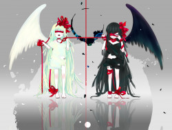 аниме, ангелы,  демоны, 515m, бант, лента, повязка, перья, крылья, улыбка, ангел, демон