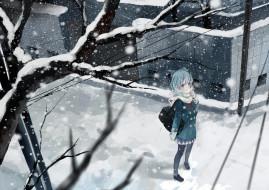 аниме, touhou, сумка, форма, шарф, провода, улица, деревья, здания, город, зима, снег, девушка, cirno, bou, shaku