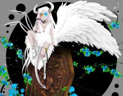 аниме, ангелы,  демоны, демон, девушка, ошейник, цепь, 515m, растения, гроб, перья, хвост, скелет, кости, роза, цветы, рога, крылья