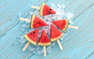 еда, арбуз, water, melon, ломтики, лёд