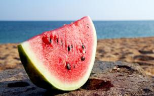 еда, арбуз, water, melon, ломтик, кусок, берег, пляж
