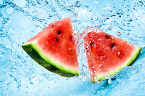 еда, арбуз, water, melon, ломтики, вода, брызги