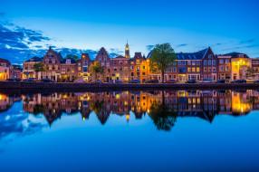 города, - панорамы, haarlem, netherlands, spaarne, river, харлем, нидерланды, река, спарне, отражение, набережная, здания, машины
