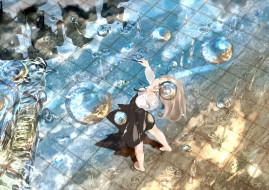 аниме, unknown,  другое, свет, отражение, лужи, plantroom9, девушка, nine, капли, палочка, вода, улица, брызги