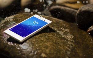 sony xperia m4, бренды, sony, сони, телефон, смартфон, вода, капли, брызги, камни
