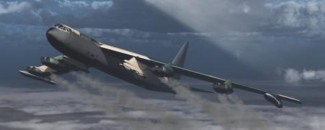 обои для рабочего стола 5120x2048 авиация, 3д, рисованые, v-graphic, полет, облака, самолет