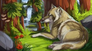 рисованное, животные,  собаки, собака, взгляд, лес