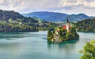 города, - православные церкви,  монастыри, словения, озеро, остров, бледское, slovenia, горы, мариинская, церковь, lake, bled