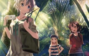 аниме, unknown,  другое, оранжерея, девушки, тропические, растения, телефон, арт, yuuki, tatsuya