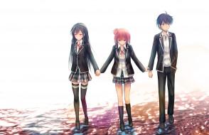 аниме, oregairu, yuigahama, yui, hikigaya, hachiman, девочки, парень, фон, yukinoshita, yukino