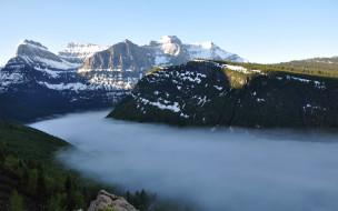 природа, горы, озеро, снег, небо, туман, деревья