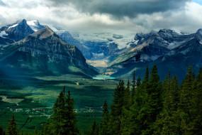 природа, горы, лес, озеро, дома, деревья, небо, тучи, долина