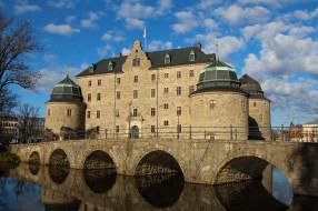 214, rebro castle,  sweden, города, замки швеции, река, мост, замок