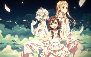 аниме, unknown,  другое, трио, девушки, арт, yuuki, tatsuya, облака, небо