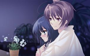 аниме, flyable heart, девушка, мужчина, взгляд, цветок, объятия, любовь