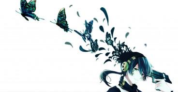 обои для рабочего стола 2200x1136 аниме, kagerou project, kagerou, project, бабочки, пистолет, взгляд, брюнет, оружие, наушники, konoha, icchan, парень