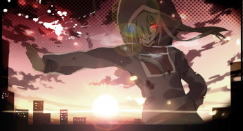 аниме, kagerou project, арт, vocaloid, kagerou, project, aiharafu, kido, tsubomi, капюшон, взгляд, город