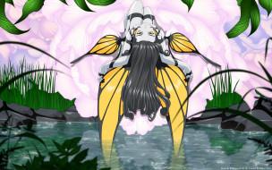 аниме, ah,  my goddess, вода, трава, растения, цветы, камни, бабочка, крылья, ангел, девушка, cilou, morgan, le, fay
