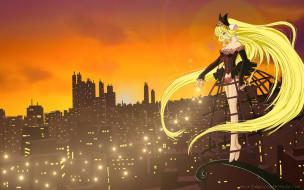 аниме, chobits, cilou, город, солнце, свет, огни, небо, облака, freya, платье, девушка