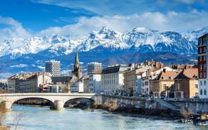 города, - пейзажи, пейзаж, дома, мост, река, франция, гренобль, grenoble, облака, снег, альпы, горы