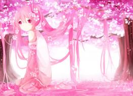обои для рабочего стола 2800x2031 аниме, vocaloid, hatsune, miku, tagme, artist, sakura, цветы, волосы, арт, девушка, розовый