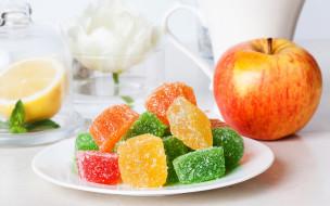 еда, конфеты,  шоколад,  сладости, сладкое, яблоко, мармелад, sweet, apple, jelly