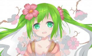 vocaloid, арт, l4no-shiro, hatsune miku, взгляд, цветы, девочка