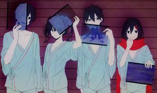 аниме, kagerou project, konoha, арт, kokonose, haruka, kisaragi, shintaro, ene, kagerou, project, enomoto, takane, девушки, парни, yodare, 3yami8, tateyama, ayano