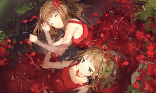 осень, листья, вода, спят, девочки, арт, anmi
