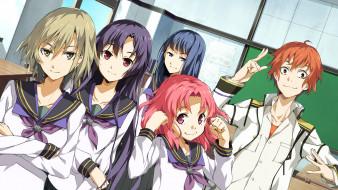 Tatsunobe Ayumi, Sera Mizuki, Soushuu Senshinkan Gakuen Hachimyoujin, Oosugi Harumitsu, парень, девушки, Manase Akira, Gadou Rinko