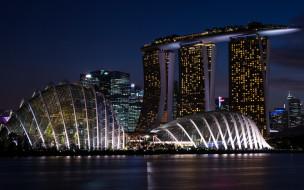 обои для рабочего стола 2880x1800 города, сингапур , сингапур, огни, ночь, сооружение, marina, bay, sands, здания, набережная, река