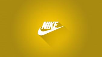 бренды, nike, тень, лого, жёлтый, фон, найк, спортивная, марка