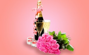 ���, �������,  ����, glass, flowers, roses, champagne, valentine's, day, romantic, ����������, ����, ������