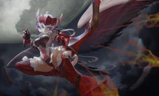 аниме, senki zesshou symphogear, огненные, стрелы, лук, крылья, девушка, yukine, chris, senki, zesshou, symphogear, black, light, арт