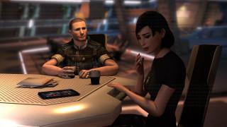 видео игры, mass effect, девушка, взгляд, фон, мужчина, стол