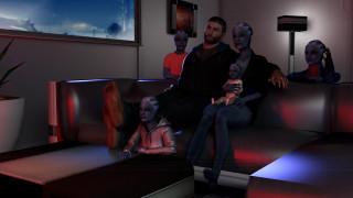 видео игры, mass effect, мужчина, взгляд, фон, семья