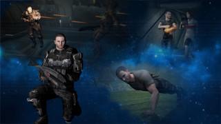 видео игры, mass effect, мужчина, взгляд, фон, оружие, вселеная