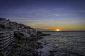 cape town, города, кейптаун , юар, закат, океан