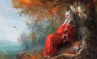 аниме, inuyasha, арт, уши, листья, природа, меч, дерево, female, version