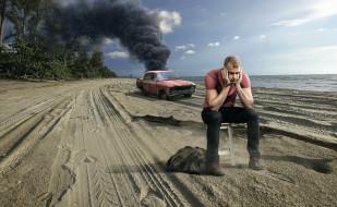 пляж, парень, дым, авария, автомобиль