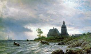 обои для рабочего стола 2176x1300 рисованное, лев лагорио, люди, дом, камни, парусник, берег, вода, море, волны, лодки, природа, картина, северный, пейзаж