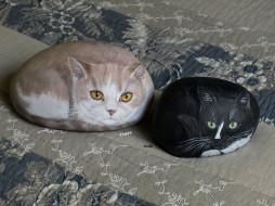 рисунок, коты, камень, ткань