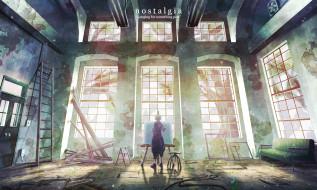 обои для рабочего стола 2000x1200 аниме, unknown,  другое, руины, художник, мальчик, окна, здание, арт, natsu3390