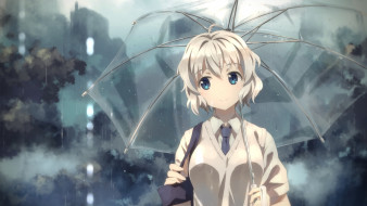 аниме, unknown,  другое, yuuki, tatsuya, арт, девушка, зонт, дождь