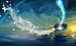 аниме, vocaloid, облака, небо, бабочки, вода, рояль, девушка, hatsune, miku, miemia, арт