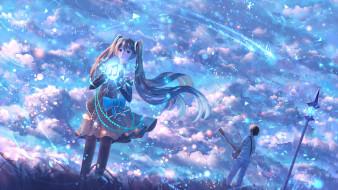 аниме, vocaloid, hatsune, miku, bounin, мужчина, девушка, вокалоид, небо, музыка