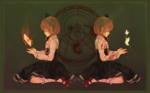 аниме, umineko no naku koro ni, кровь, когда, плачут, чайки, umineko, no, naku, koro, ni, символы, колдовство, ведьма, maria, ushiromiya, корона, черная, магия