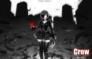 аниме, tokyo ghoul, перья, kirishima, touka, вороны, гуль, токийский, tokyo, ghoul, art, anime, девушка